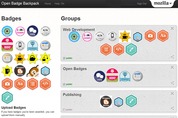 screen capture of Mozilla Backpack user page