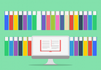 illustration of computer and books