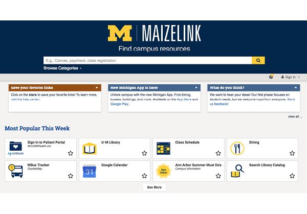 screenshot of MaizeLink homepage