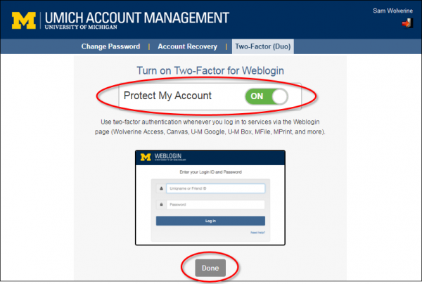 screenshot of Account Management interface to turn on two-factor