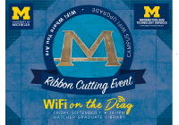 Diag block M with text superimposed: Ribbon Cutting Event. WiFi on the Diag. Friday September 7, 2018, noon–1:00 p.m.
