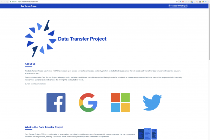 Data Transfer Project homepage screenshot