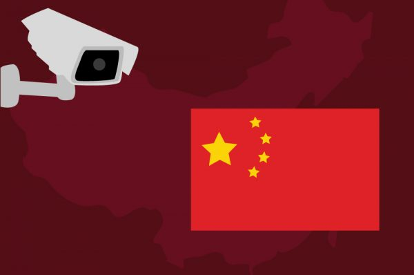 Concept illustration of a surveillance camera and a Chinese flag.