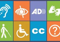 A series of icons that depict vision, hearing, and mobility represent digital and web accessibility