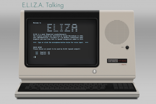 "Screenshot of the ELIZA Talking website, showing an old VT100 digivox terminal with keyboard, microphone, speaker, and vox (voice) dial button. There is text on the monitor which provides a description of the project (""ELIZA is a mock Rogerian psychotherapist), credits, and instructions for use."