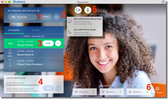 A screenshot of the BlueJeans videoconference interface shows a visually refreshed interface