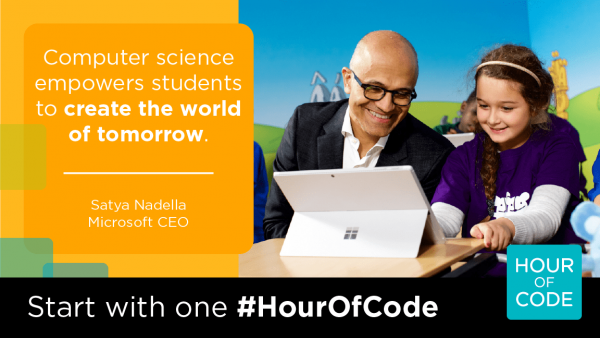 Computer science empowers students to create the world of tomorrow. Satya Nadells, Microsoft CEO (Nadella sitting at compupter with girl.)