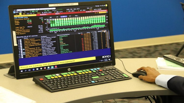 computer terminal screen showing financial data