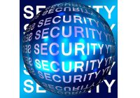 The words security repeated over a blue sphere