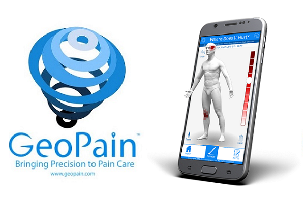 GeoPain logo with smartphone showing app