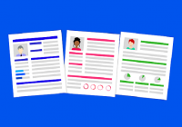 illustration of three resumes