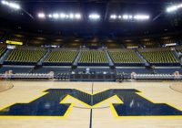 block M on court of empty Crisler arena