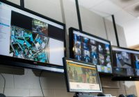 bank of computer monitors