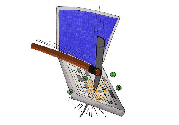 illustration of pickax hitting a laptop