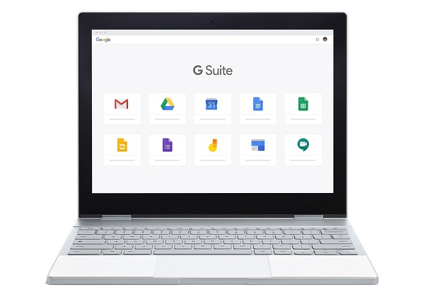 lap top with GSuite icons on screen