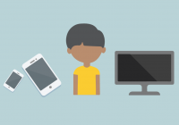 illustration of child with computer and mobile devices