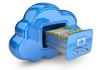 file storage in cloud 3d computer icon isolated on white