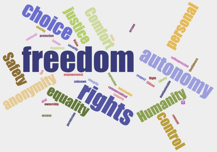 freedom, autonomy, rights, choice, equality, humanity, control, personal, confidence, safety, anonymity, justice, comfort, consent, permission, ownership, access, vital, self, empowerment, unknown, integrity, commercialized, information, expression, Citizen, respect, arcane, calm, value, security, human, protection, confused, sharing, happiness, self, sharing, liberty