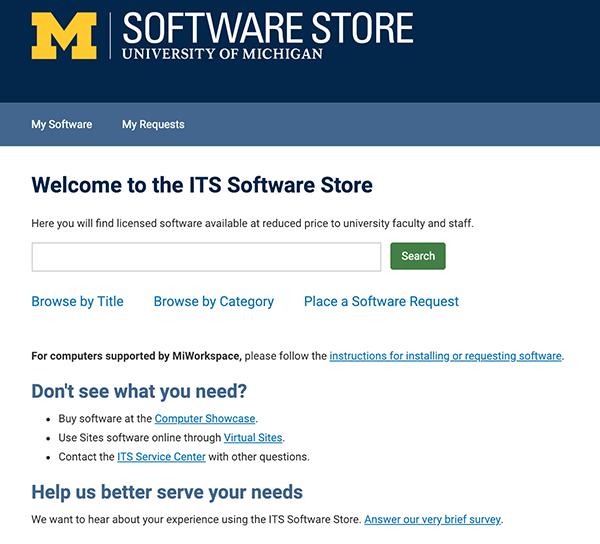 A screenshot of the ITS Software Store website
