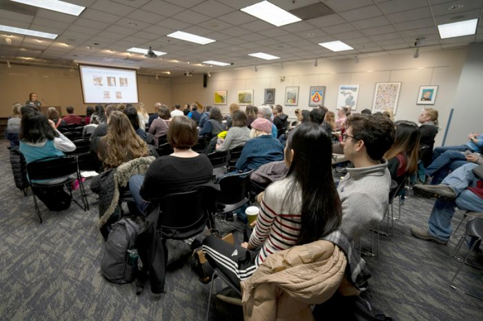 People gather to hear talks at World IA Day 2019 at Ann Arbor District Library