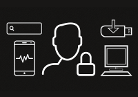 profile of person's head and lock surrounded by computing devices