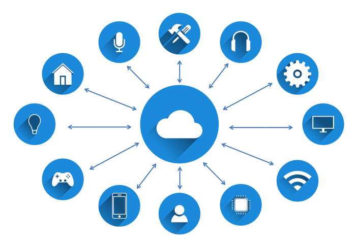 various device icons surrounding image of a cloud