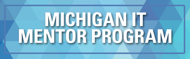 Michigan IT Mentor Program in white text over blue background