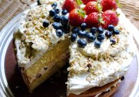 layer cake with cream and berries