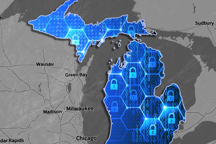 map of Michigan overlayed with images of locks