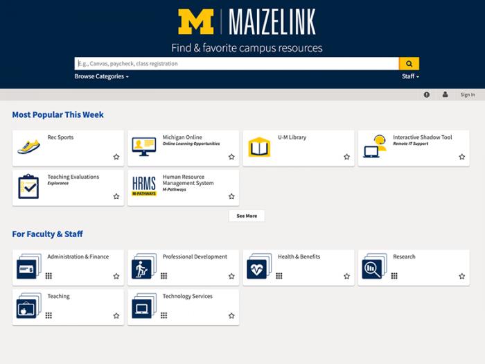 MaizeLink landing page