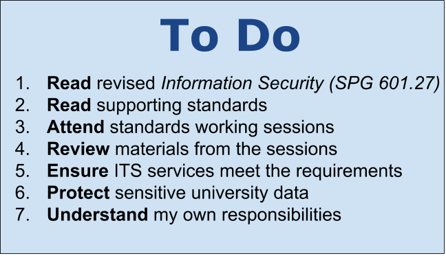 To Do 1. Read revised Information Security 2. Read supporting standards 3. Attend standards working sessions 4. Review materials from the sessions 5. Ensure ITS services meet the requirements 6. Protect sensitive university data 7. Understand my own responsibilities