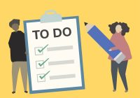 illustration of two people holding giant to do list and pencil