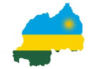 map of Rwanda with Rwandan flap superimposed.