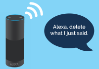 "Alexa speaker on the left with a voice bubble on the right. The voice bubble says ""Alexa, delete what I just said."""