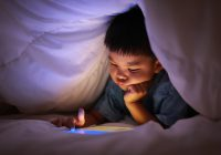 Little Boy Using Tablet Play Learning Application Game, Fing