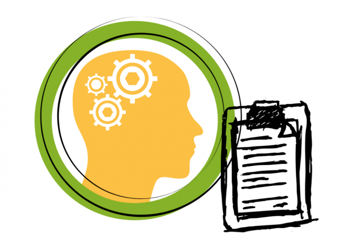 Outline of a human head with gears in the brain and a drawing on a clipboard.