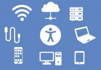 A set of icons arranged in a circle surrounding a human figure, representing a person enabled by technology
