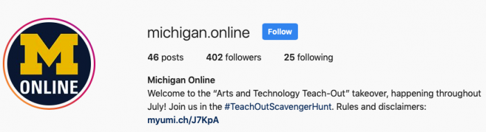 A screenshot of the top of the Michigan Online Instagram profile. The Michigan Online logo is at the left. The profile statistic are present: 46 posts, 402 followers, and 25 following.