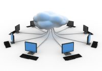 multiple computers in a circle with wires running into a cloud in the center