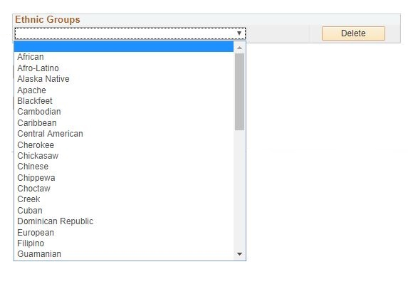 dropdown list of ethnic groups