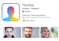 FaceApp page on app store