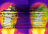 image from thermal camera of people's faces