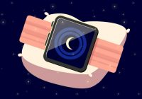 A drawing of an Apple Watch wrapped around a drawing of a pillow against a night sky.