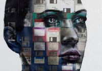 woman's face superimposed with images of floppy disks.