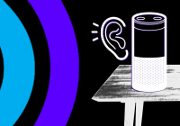Sound waves and ear next to a table with home device.