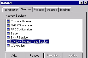 WINS network admin interface