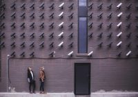 two women by a wall with many CCTV cameras focused on them