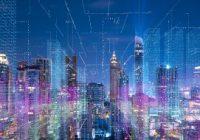 city skyline with overlay of data grid