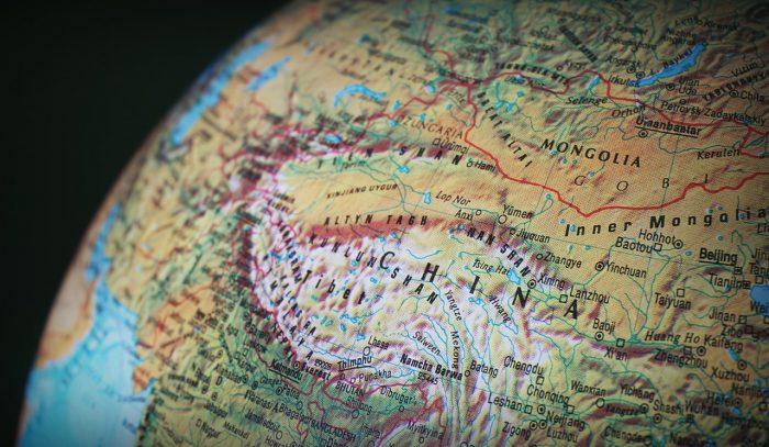 close up of china on globe