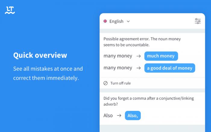 screenshot of languagetool UX